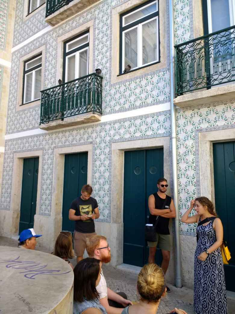 Our tour group took a breather in the charming Alfama neighborhood of Lisbon.