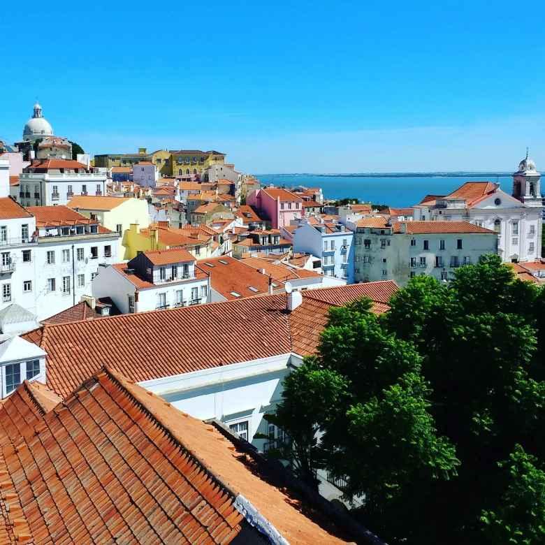 Orange rooftops in Lisbon.