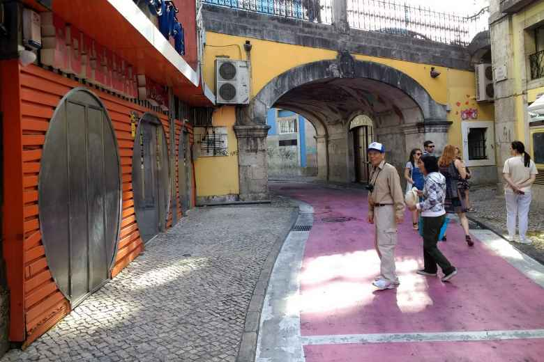 My dad and mom on what is known as Pink Street in Lisbon, Portugal.
