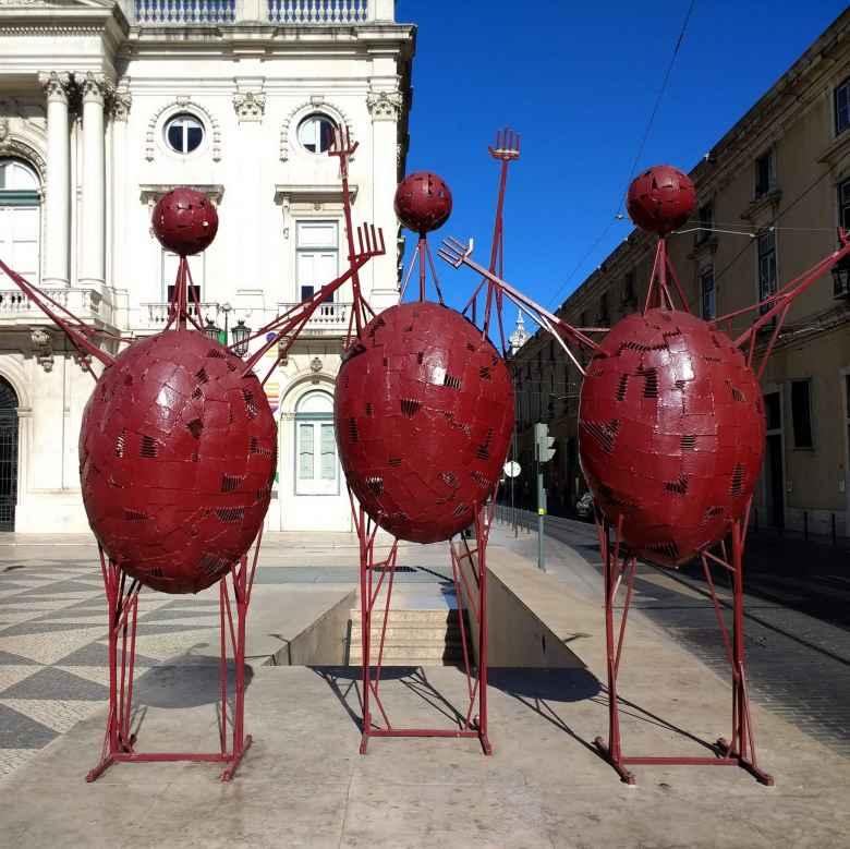 Red street art sculptures near Praça do Municipio (City Hall Square) in Lisbon, Portgual.