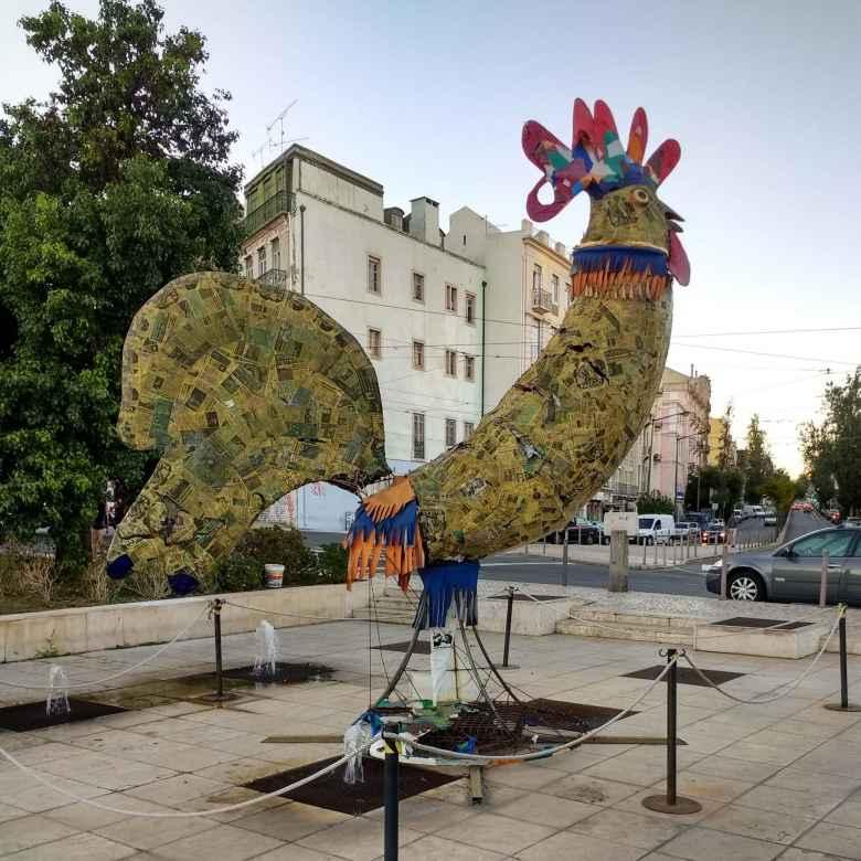 Chicken sculpture in Lisbon, Portugal.