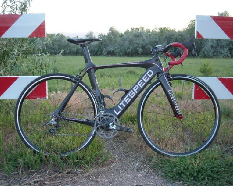 The Super Bike is complete.  It is built around a Litespeed Archon C2 aero road bike frame.
