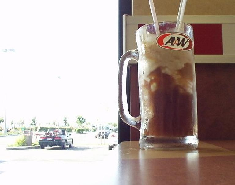 Nolstagia, good food and fun: having an ice cream float at A&W Root Beer the night before the century with the view of my Alfa Romeo and recumbent out the window.  A&W was founded in Lodi.