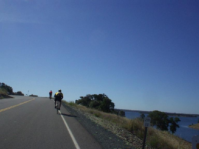 [Mile 27, 9:13 a.m.] Perhaps the most scenic and certainly the most rolling part of the ride was by Lake Camanche.