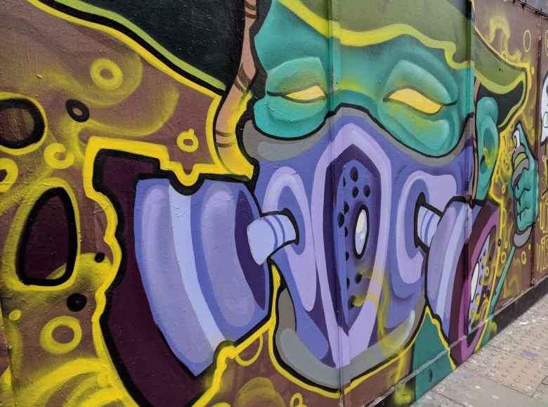 Graffiti along Great Eastern St. (A1202) in the Shoreditch area of London.