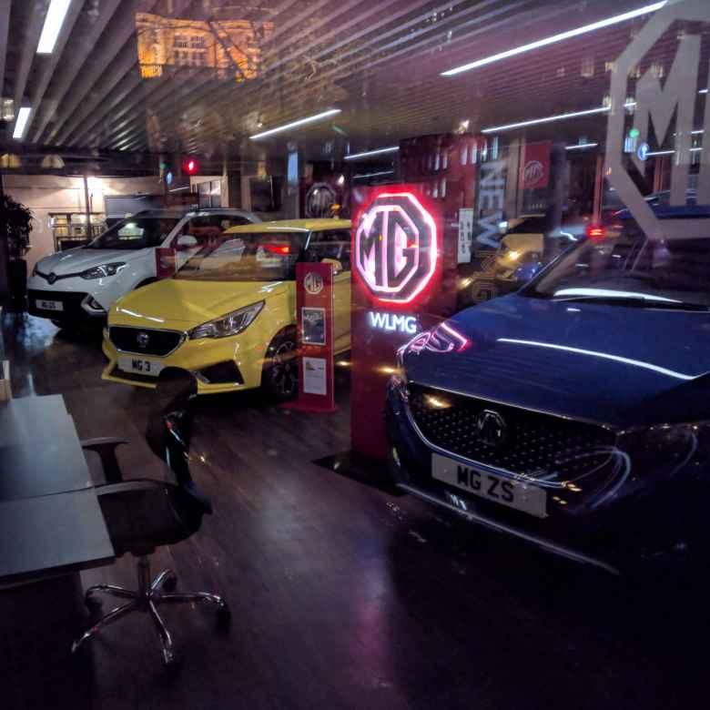 An MG dealership near Paddington in London.