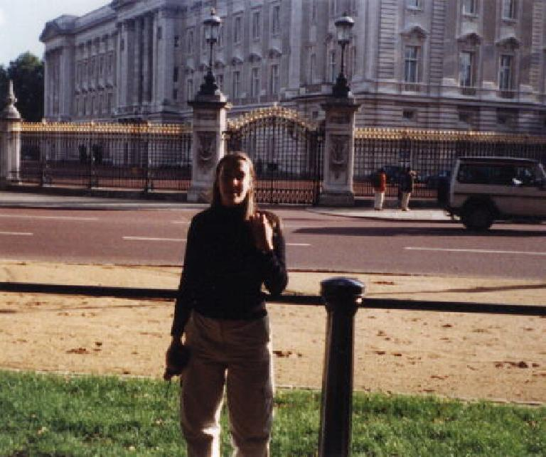 Carolyn at Buckingham Palace. (September 25, 1999)