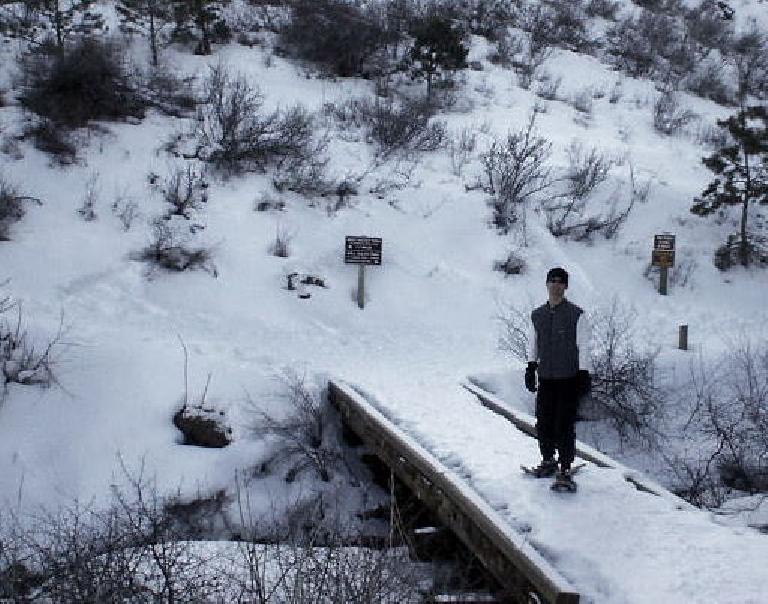 Felix Wong beginning his snowshoe run.