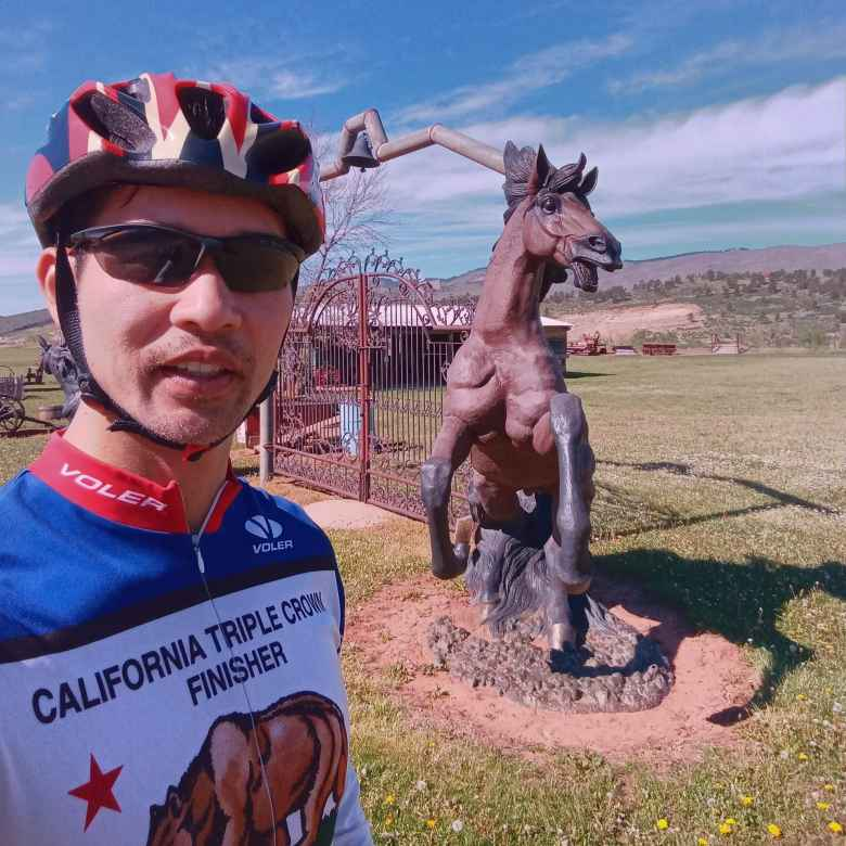 Felix Wong, California Triple Crown Finisher jersey, horse statue, Masonville