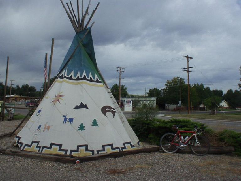 Canny and a teepee on US Route 34.