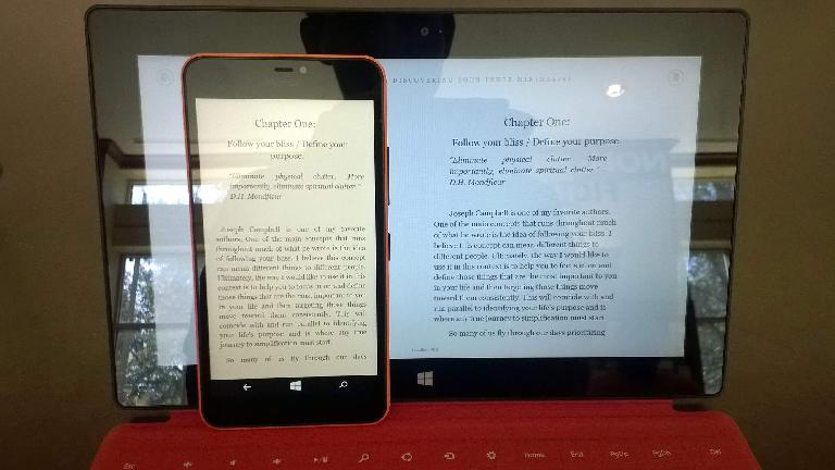 orange Microsoft Lumia 640 XL, red Microsoft Surface RT, Amazon Kindle app