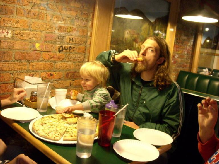 We went out to a pizzeria in Estes Park afterwards.