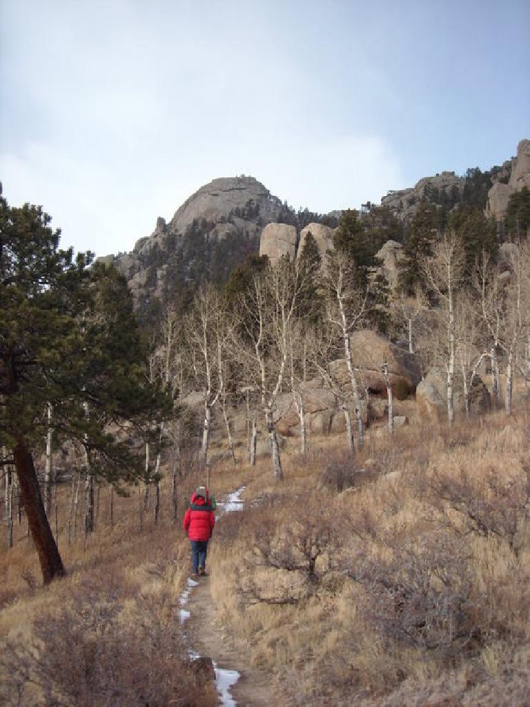 On the Batman trail.  We did not go all the way to Batman Rock in the distance.
