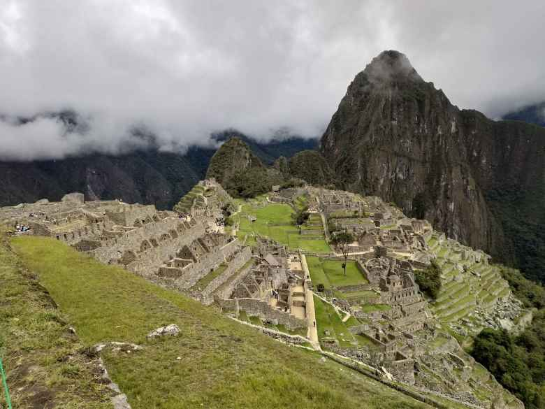 Overhead view of the ancient city of Machu Picchu.