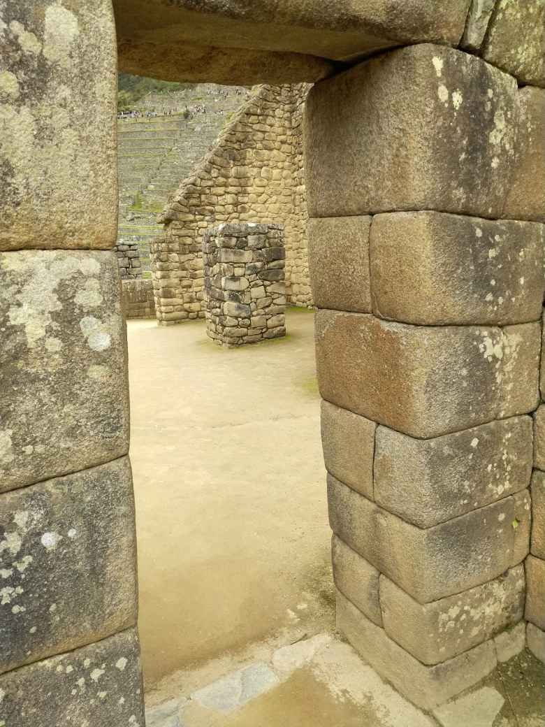 The view through a door at Machu Picchu.