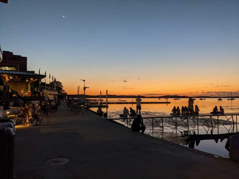 Watching a sunset outside of Memorial Union Terrace at the University of Wisconsin in Madison.