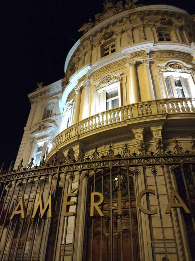 The Casa de America at night in Madrid.