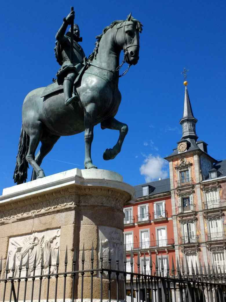 Horseman statue at Plaza Mayor.