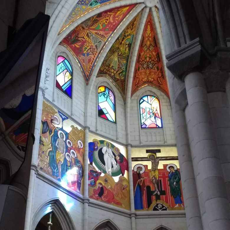 Stained glass inside the Catedral de la Almudena in Madrid, Spain.