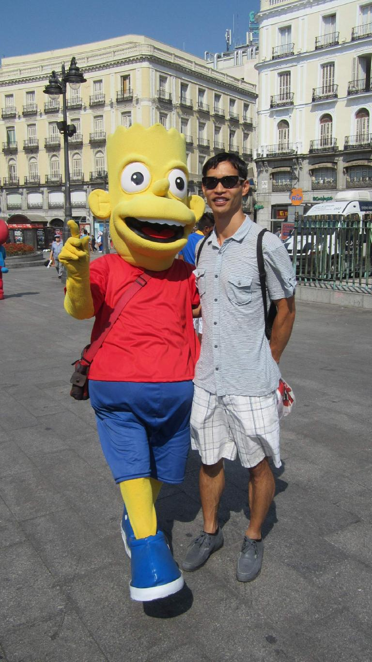 With Bart Simpson.