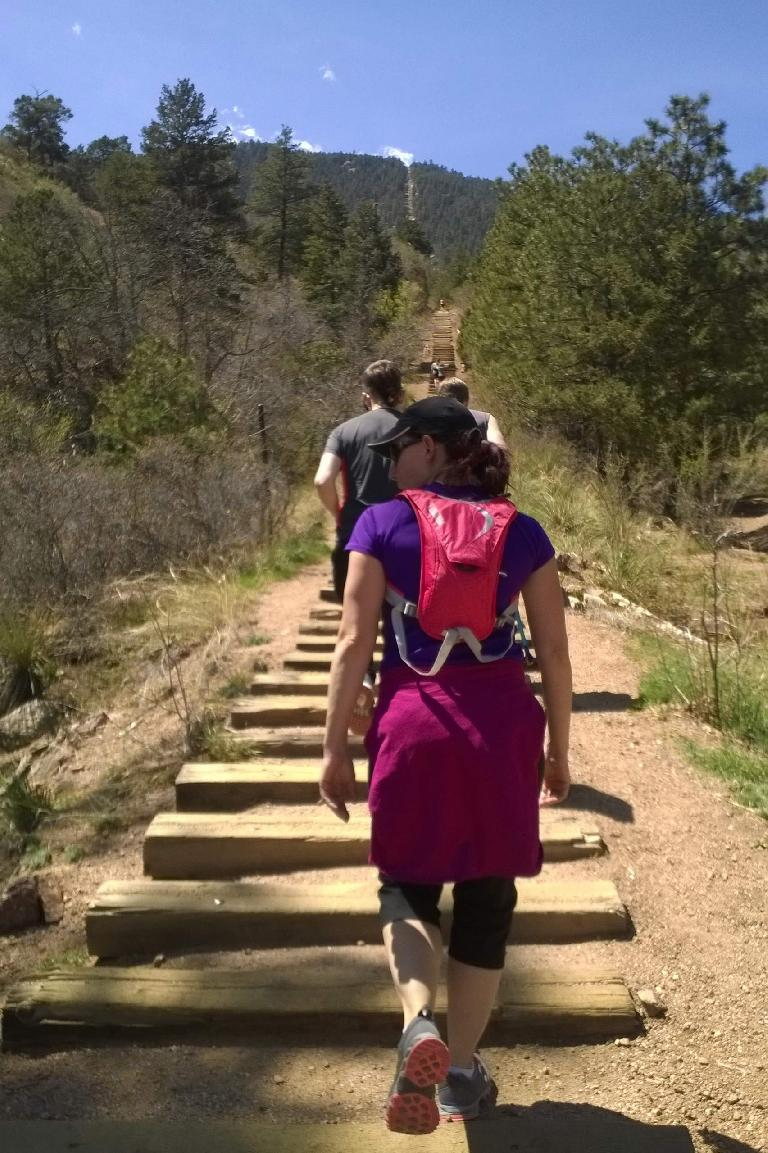My friend Lisa heading up the Manitou Springs Incline.