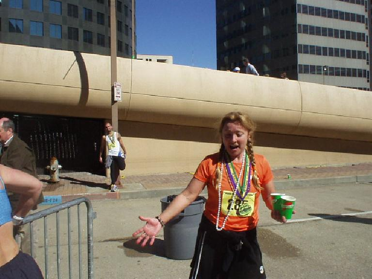 Sylvie did great too, in her 9th or so marathon.  She had a great time, even stopping to dance at a few of the last water stops.