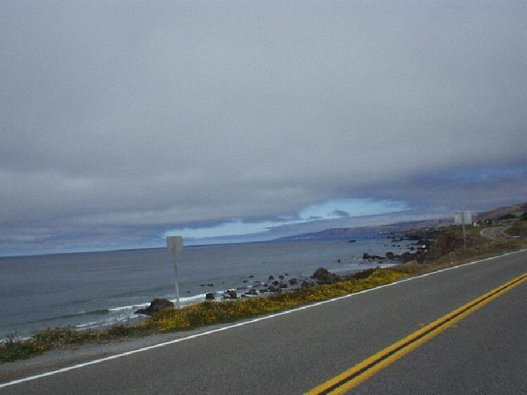 [Mile 55, 11:13am] The extra 200k loop went along Highway 1 to Bodega Bay, with brief glimpses of the Pacific.  There were many surfers out today.