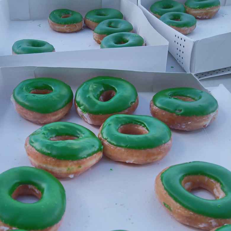 Green Krispy Creme donuts at the Marshall University Marathon.