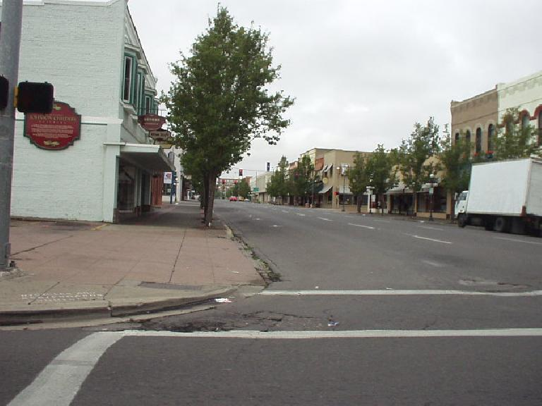 Downtown Medford was largely abandoned on this Sunday morning.