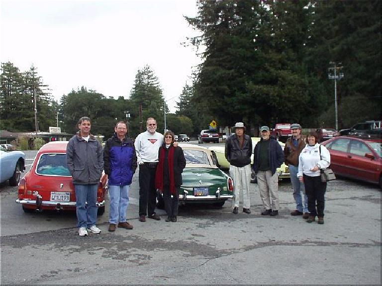 "After having a nice lunch from the menu replete with items such as ""The Ducati"" [French toast] and ""Triumph"" [a turkey burger], MGOC members gathered for a group shot in front of some of the cars."