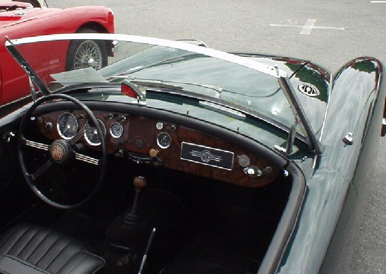Beautiful custom burled walnut for the dashboard in this MGA.