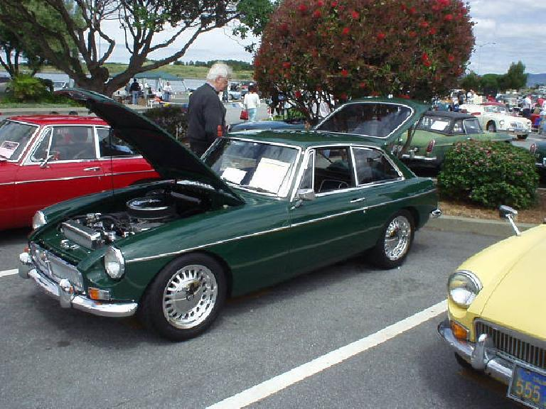 Robert Milner's 1967 MGB/GT had a Buick V8 (with Rover heads), Camaro 5-speed transmission, and 1989 Jaguar XJ6 wheels.