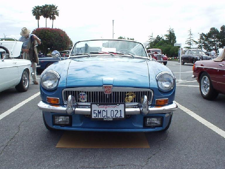 An aggressive face on this chrome-bumpered MGB.