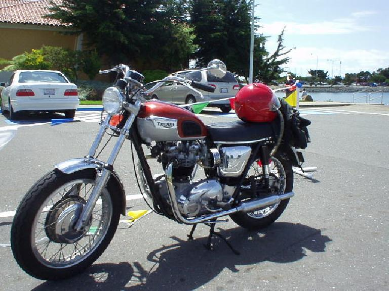In addition to all the MGs, there was a Triumph, but in the form of a motorcycle.