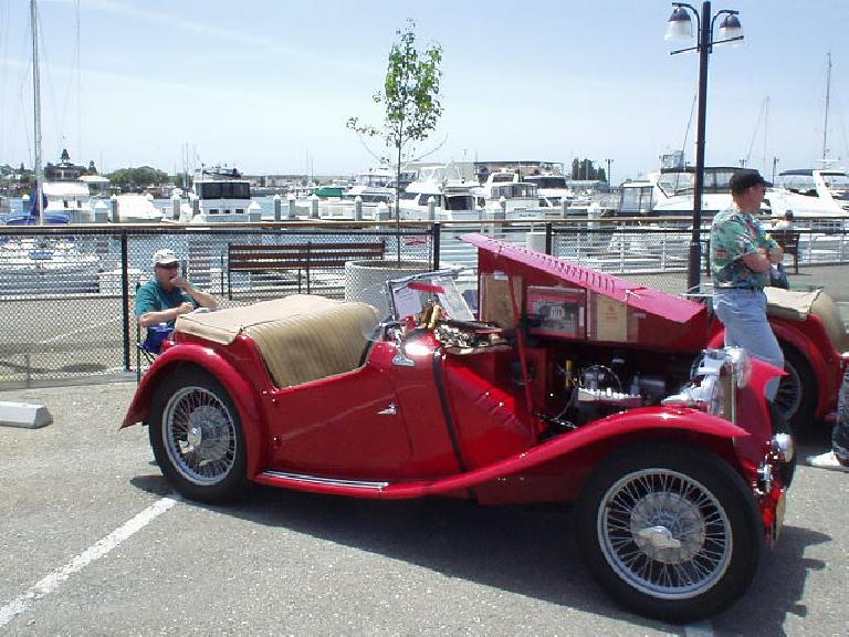 Red MG TC.