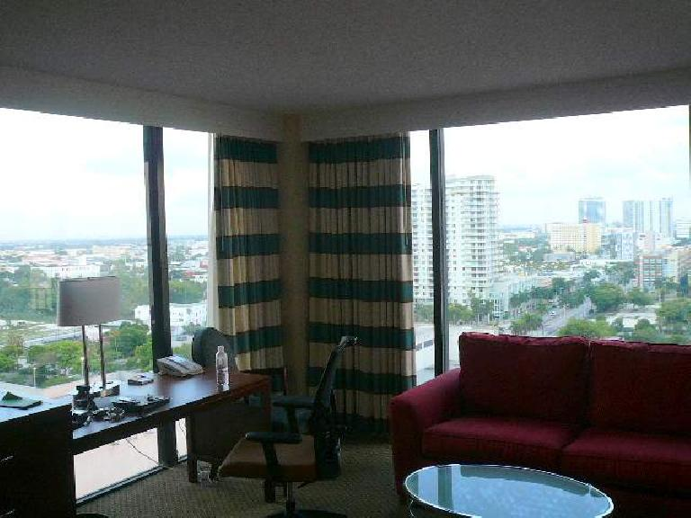 The room had amazing floor-to-ceiling views of downtown Miami.