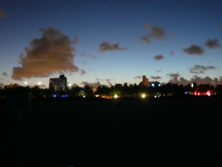 South Beach at night when viewed from the beach.