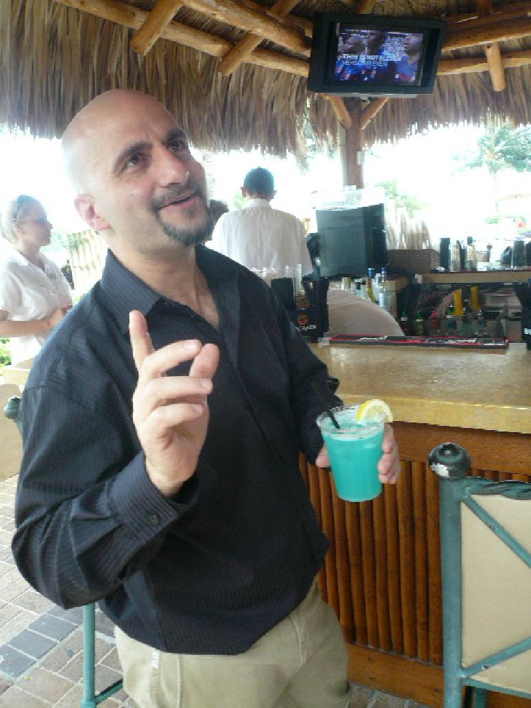 Dave and his blue drink.