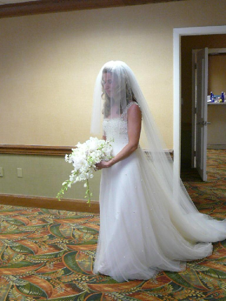 Susan, the beautiful bride on her wedding day.