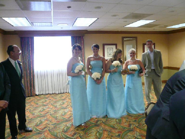 Four of the lovely bridesmaids: Sandy, Kristine, Patti, and Emily.