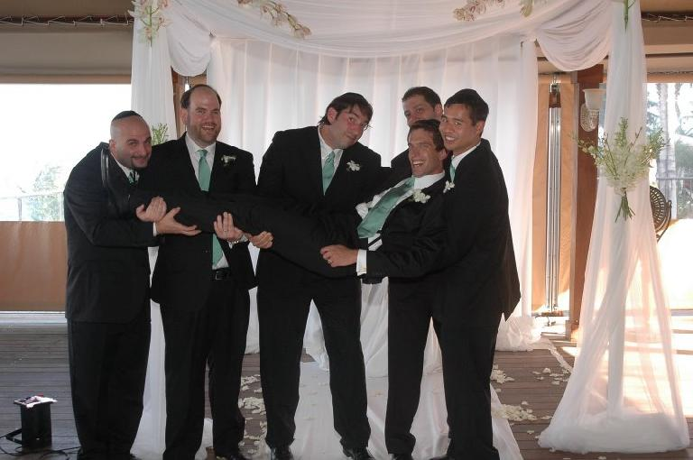 All the groomsmen (and Dan) after the wedding: Dave, Sam, David, Dan C., and Felix.