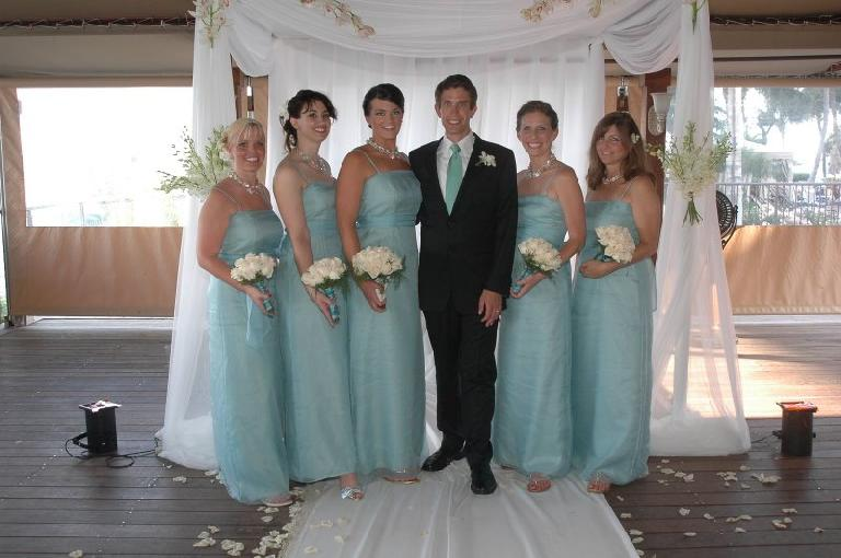 The bridesmaids with Dan: Emily, Sandy, Kristine, Adrienne, and Patti.
