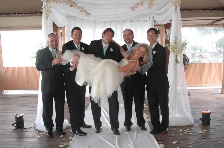 The groomsmen with Susan: Dave, Dan C., David, Sam, and Felix.