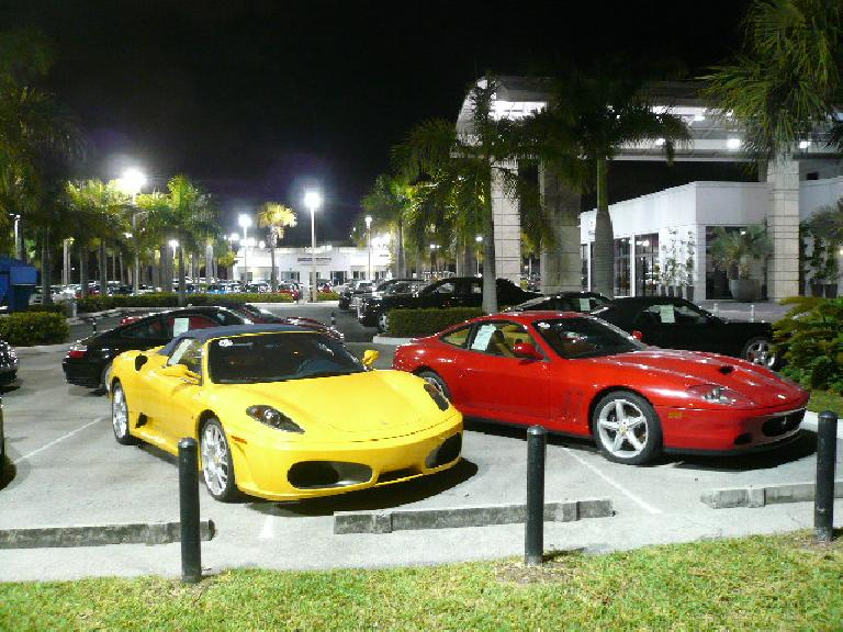 Ferraris outside at a dealership a few blocks away from the Hilton..