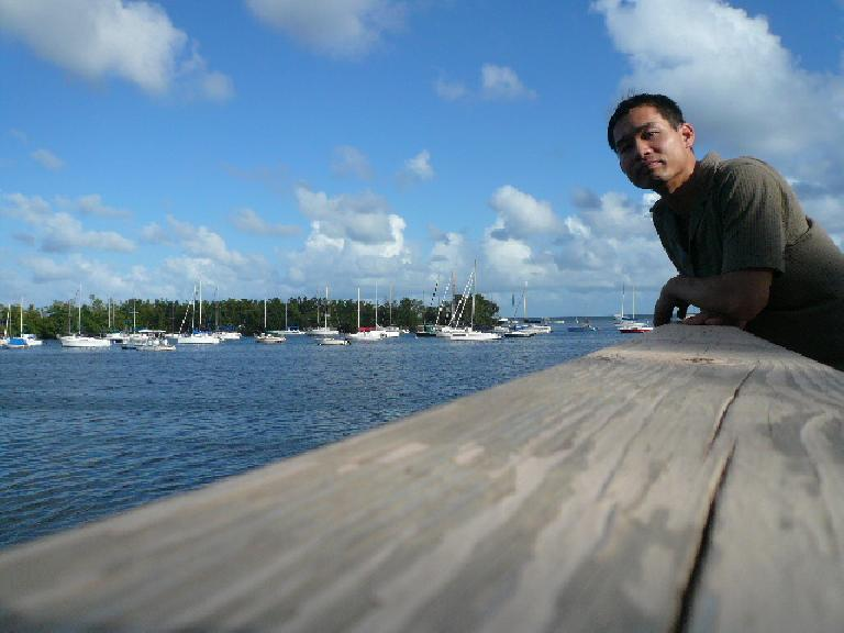 Felix Wong looking over the bay in Coconut Grove, Miami.