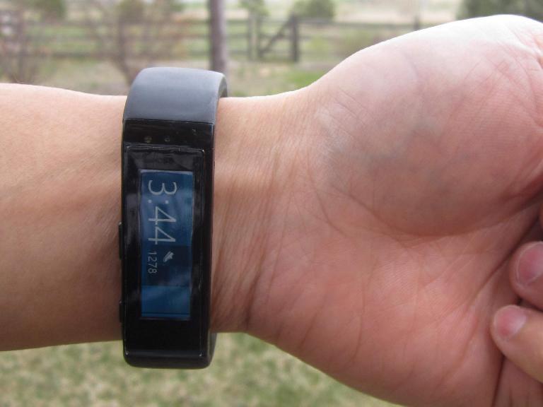 Microsoft Band worn on wrist outside