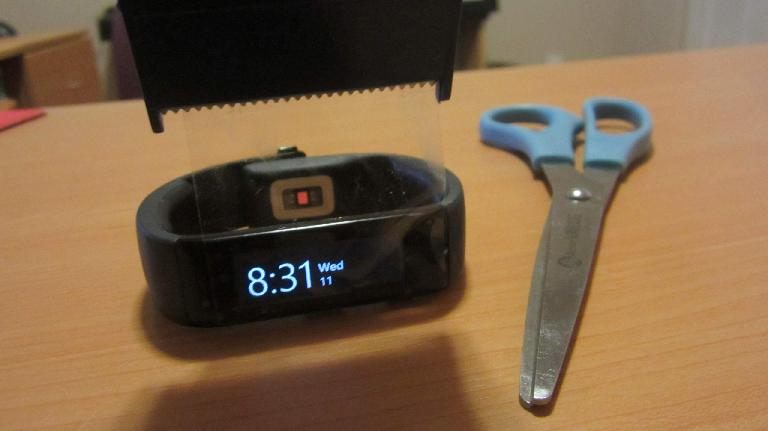 Two-inch packaging tape as a screen protector for the Microsoft Band.