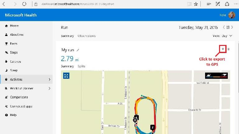 Export to GPS icon on Microsoft Health activity screen