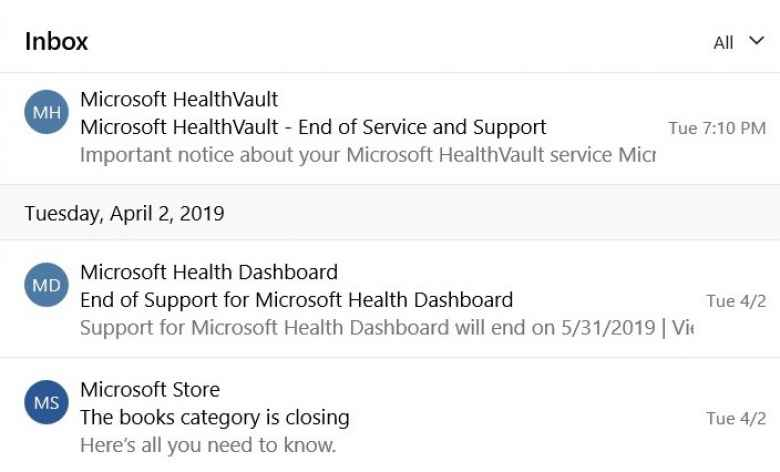 Email messages from Microsoft regarding their April 2019 closures of Microsoft Books, Microsoft Health, and Microsoft Healthvault.