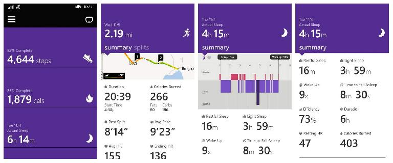 A few of the metrics available in the Microsoft Health app include steps, run tracking (with GPS map), and sleep tracking. (November 7, 2014)